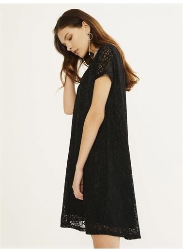 Xint XINT V Yaka Üstü Dantelli Rahat Kesim Elbise Siyah
